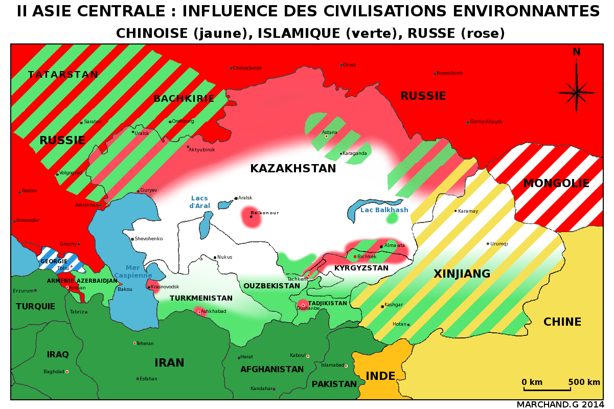 La Carte De Lasie Centrale.Carte De L Asie Centrale Les Influences Des Civilisations