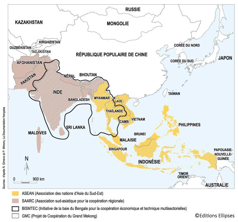 Carte Du Sud Est De Linde.Carte Des Alliances Regionales En Asie Du Sud Clair Et Utile