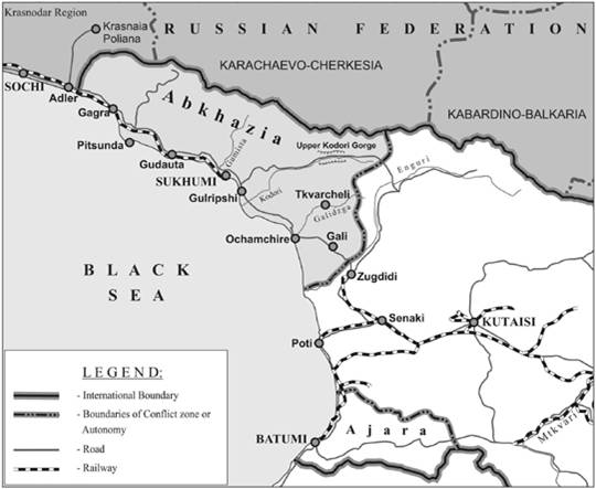 aggression in europe map. MAP OF ABKHAZIA