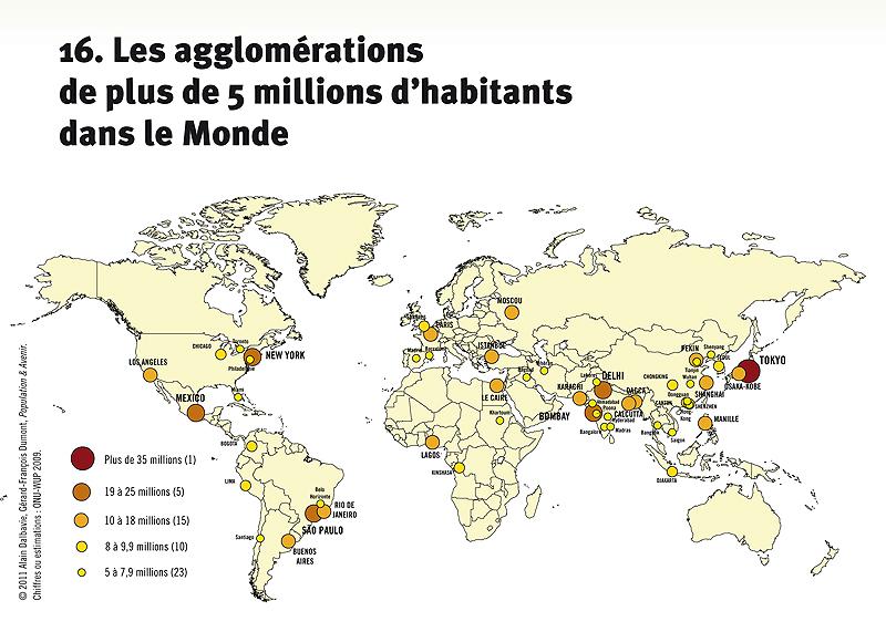 les villes de plus de 5 millions d'habitants dans le monde