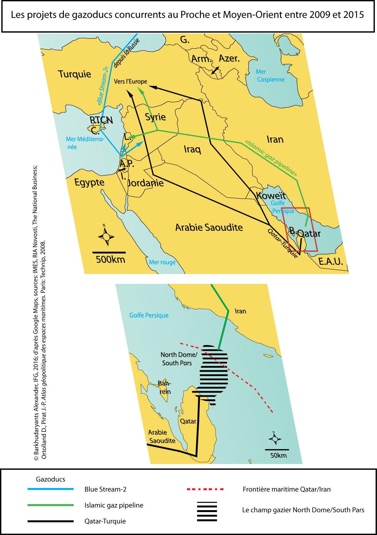 Carte. L'exportation du gaz naturel au Proche et Moyen-Orient : une « guerre des gazoducs »& à relativiser