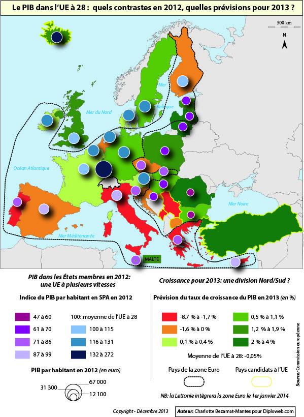 Carte des contrastes du PIB dans l'UE 28, 2012 et 2013