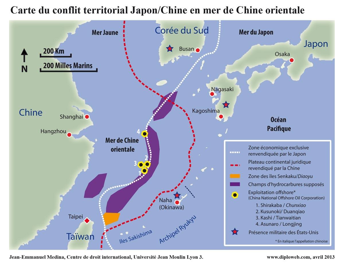 Carte Chine Japon.Carte Du Conflit Territorial Japon Chine En Mer De Chine