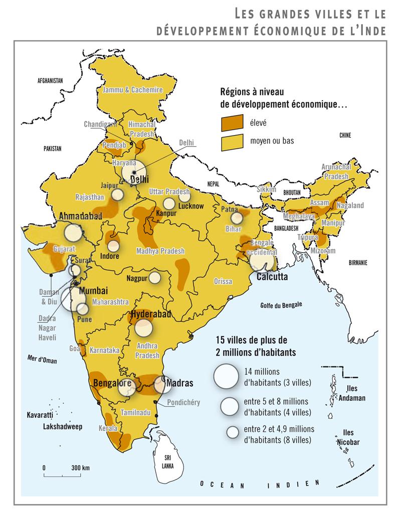 Carte De L Inde Et Ses Principales Villes