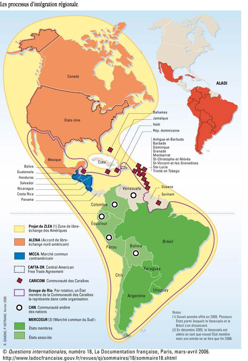 Carte Amerique Du Sud Belize.Carte Amerique Les Processus D Integration Regionale