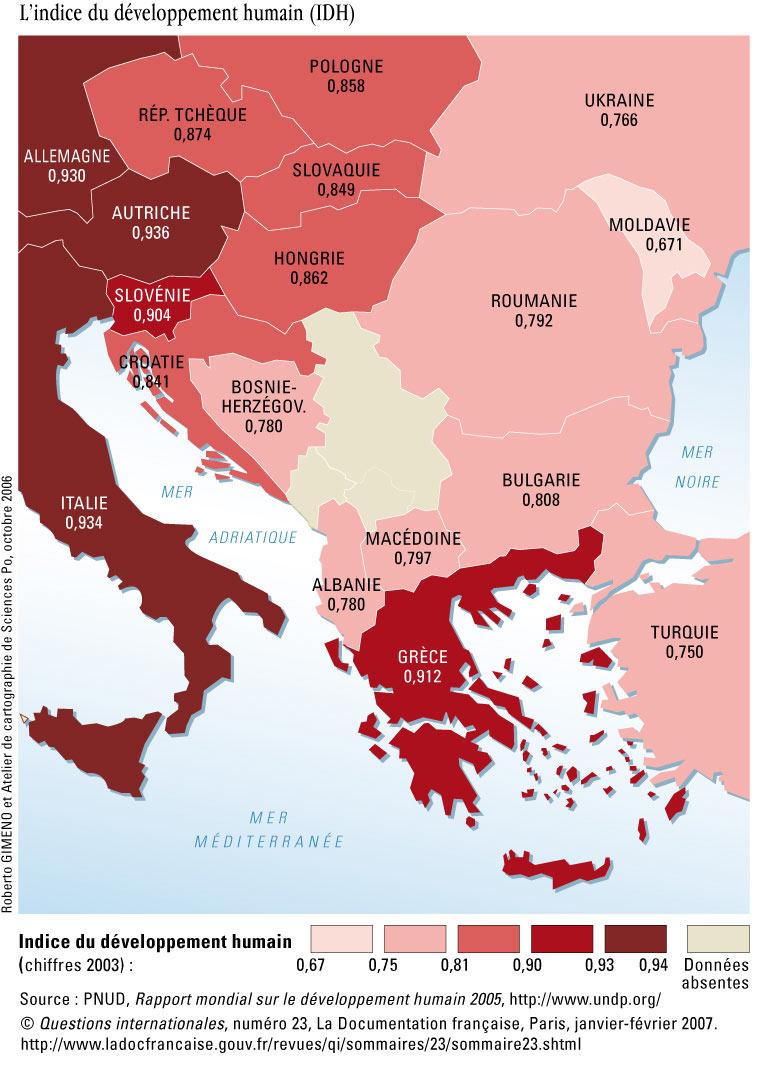 Carte Italie Balkans.L Indice Du Developpement Humain Idh Dans Les Balkans