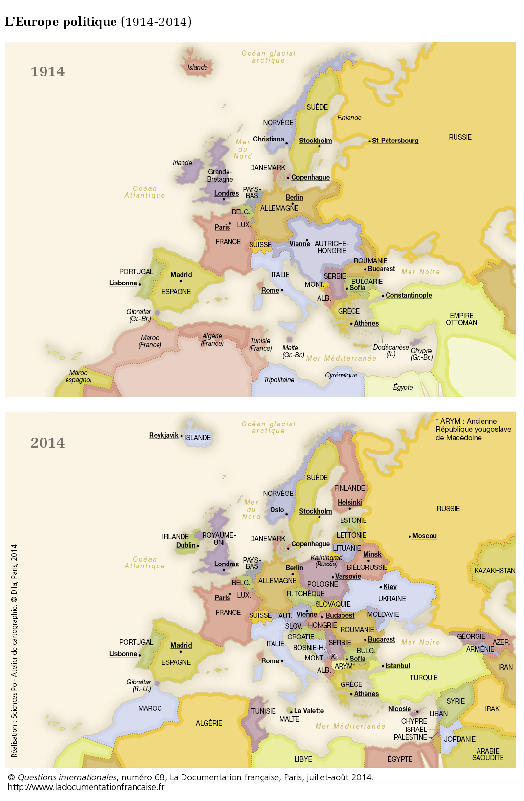 Carte de l'Europe politique (1914 2014) Questions internationales