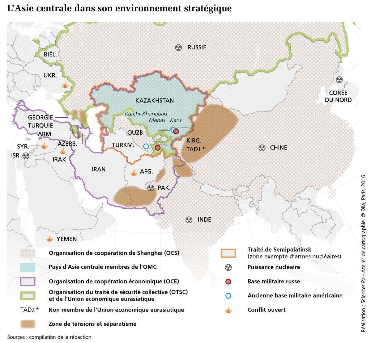 La Carte De Lasie Centrale.Carte De L Asie Centrale Dans Son Environnement Strategique