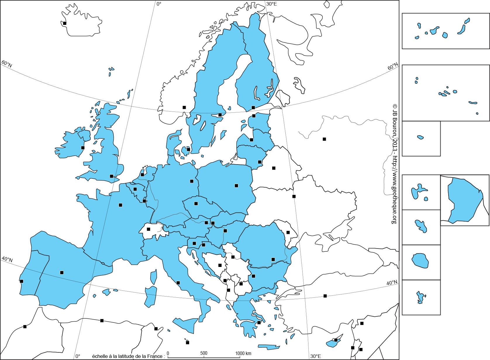 Fond de carte de lUnion européenne à 28 - UE28 - EU28 map