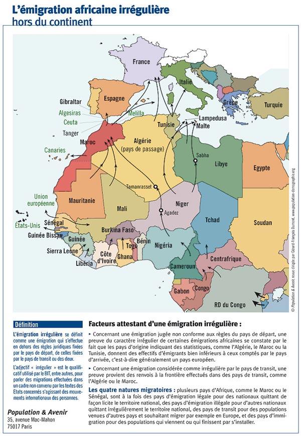 g ographie de l 39 afrique carte de l 39 emigration africaine irreguliere hors du continent par le. Black Bedroom Furniture Sets. Home Design Ideas