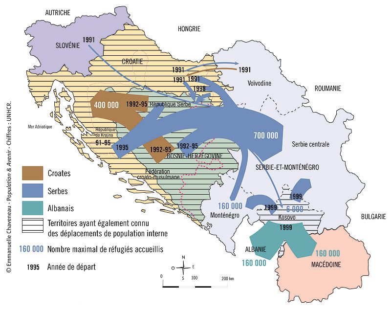 g ographie carte des principaux mouvements d 39 exodes internes a l 39 ex yougoslavie par emmanuelle. Black Bedroom Furniture Sets. Home Design Ideas