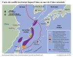 La carte du conflit territorial Japon/Chine en mer de Chine orientale